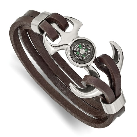 Chisel Stainless Steel Polished Functional Compass Brown Leather 8.5 Inch Bracelet