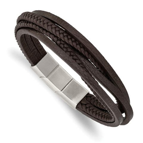Chisel Stainless Steel Polished Brown PU Leather Multi Strand with 0.5 Inch Extension Bracelet