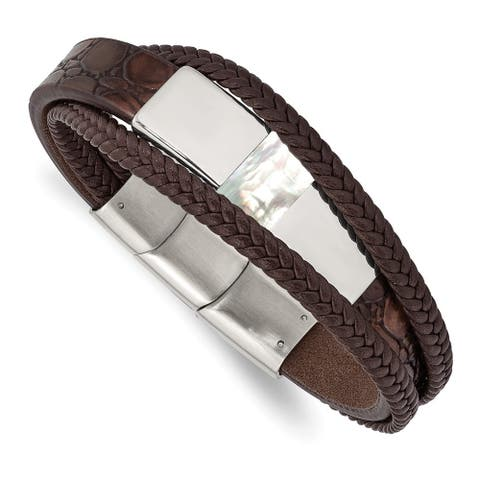 Chisel Stainless Steel Polished with Shell Pearl Leather with 0.5 Inch Extension 8 Inch Bracelet