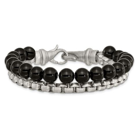 Chisel Stainless Steel Brushed Box Chain and Black Onyx 2 Strand 8.5 Inch Bracelet