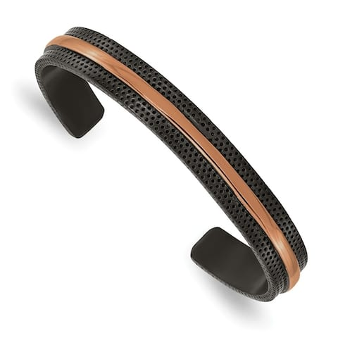 Chisel Stainless Steel Polished and Textured Black and Brown IP-plated 10mm Bangle
