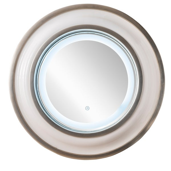 "Rings 36"" Mirror, Bright White with Silver - 35.50-in W x 4.50-in D x 35.50-in H"