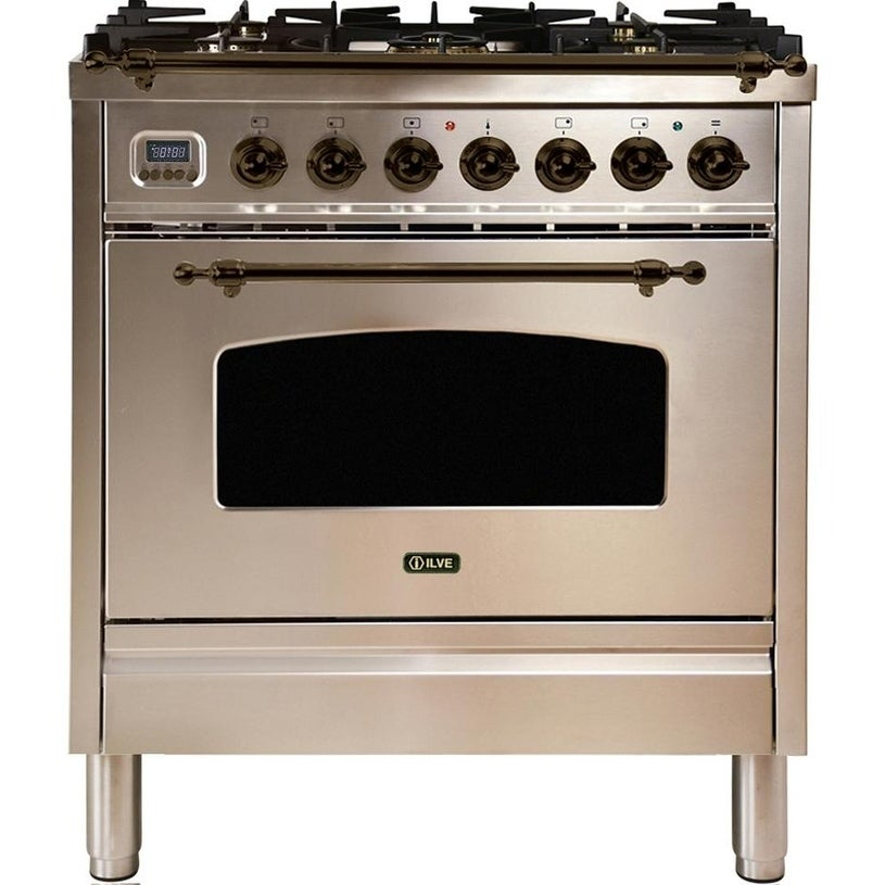 """Overstock Ilve UPN76DMPIYNG 30"""" Nostalgie Series Dual Fuel Natural Gas Range with 5 Sealed Burners, with Bronze Trim, in Stainless Steel"""