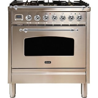 """Overstock Ilve UPN76DMPIXNG 30"""" Nostalgie Series Dual Fuel Natural Gas Range with 5 Sealed Burners, with Chrome Trim, in Stainless Steel"""