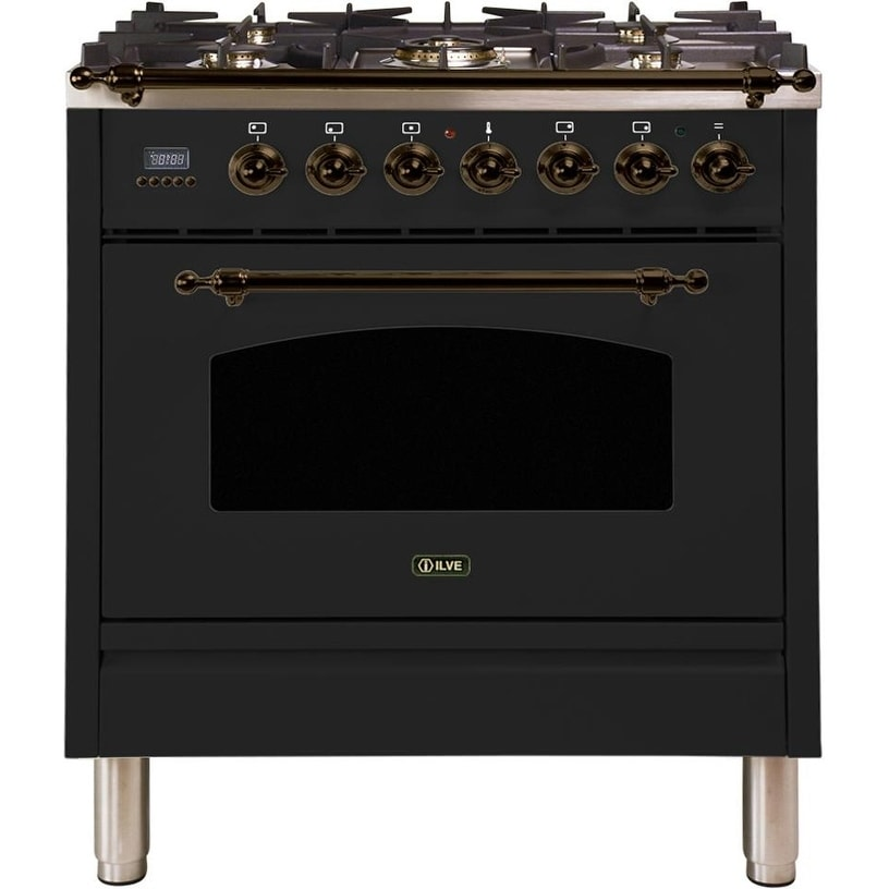 """Overstock Ilve UPN76DMPMYNG 30"""" Nostalgie Series Dual Fuel Natural Gas Range with 5 Sealed Burners, with Bronze Trim, in Matte Graphite"""