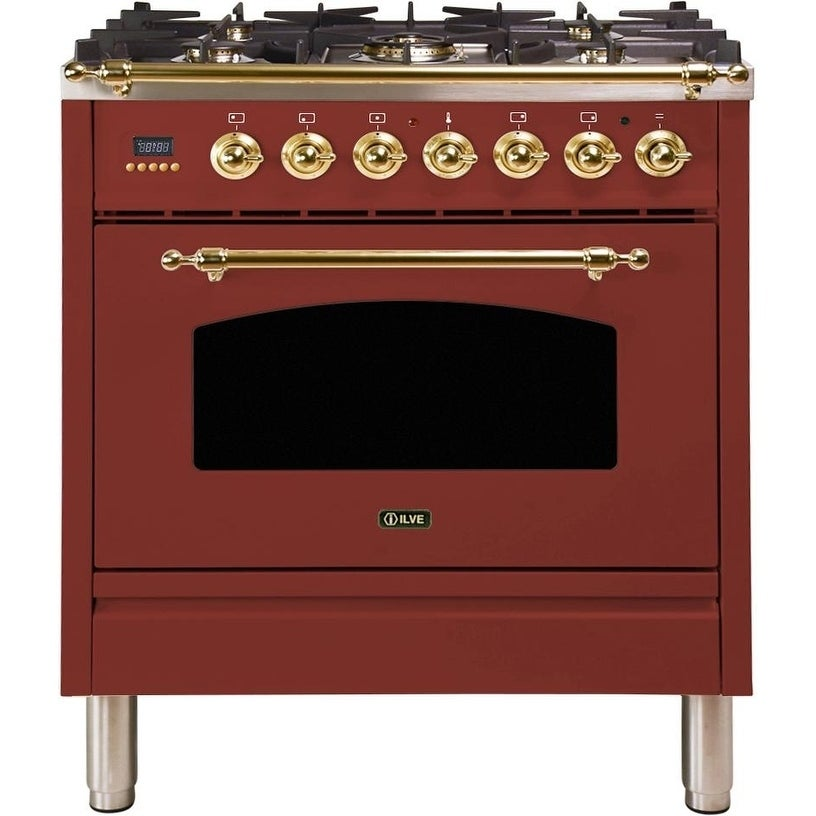"""Overstock Ilve UPN76DMPRBNG 30"""" Nostalgie Series Dual Fuel Natural Gas Range with 5 Sealed Burners, with Brass Trim, in Burgundy"""