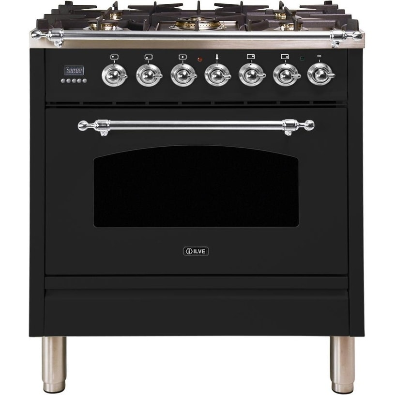 """Overstock Ilve UPN76DMPNXLP 30"""" Nostalgie Series Dual Fuel Liquid Propane Range with 5 Sealed Burners, with Chrome Trim, in Glossy Black"""