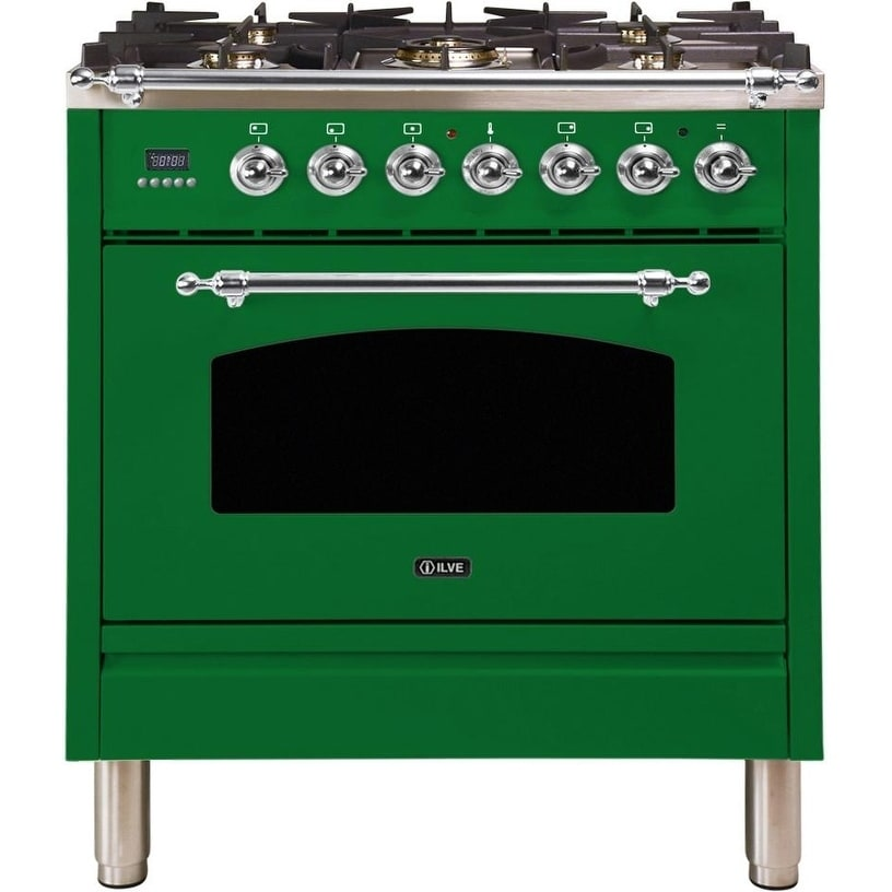 """Overstock Ilve UPN76DMPVSXNG 30"""" Nostalgie Series Dual Fuel Natural Gas Range with 5 Sealed Burners, with Chrome Trim, in Emerald Green"""
