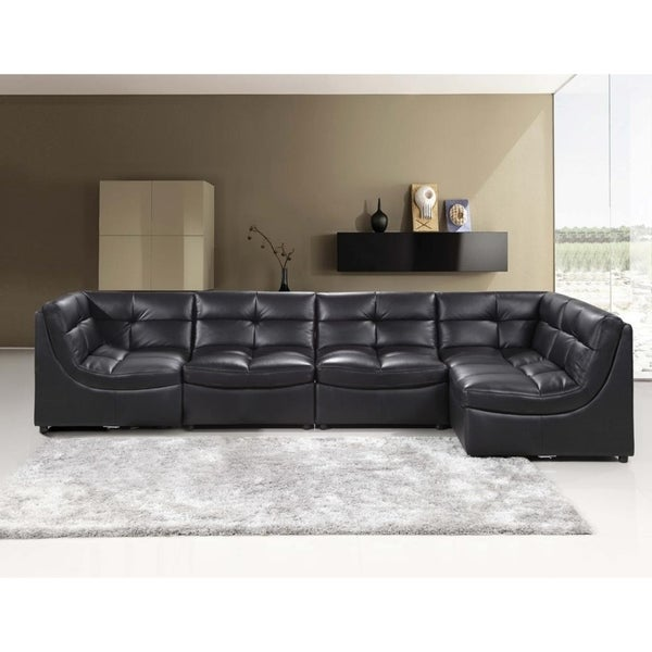 Best Master Furniture 5 Pieces Modular Bonded Leather Sectional