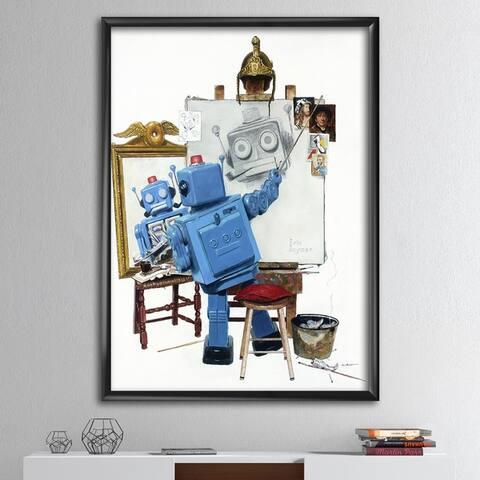 Designart 'Robot Painting Selfie' Modern & Contemporary Framed Art Print