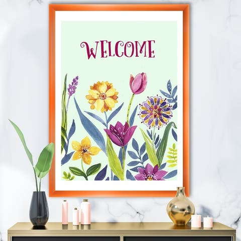 Designart 'Welcome Flower Quote' Cottage Framed Art Print