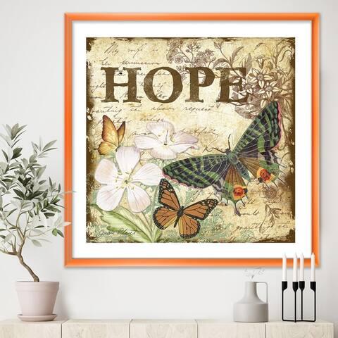 Designart 'Inspirational Butterflies Hope' Cottage Framed Art Print