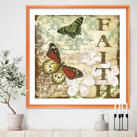 Designart 'Inspirational Butterflies Faith' Cottage Framed Art Print