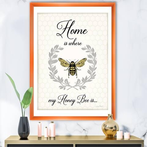 Designart 'Honey Bee A' Cottage Premium Framed Art Print