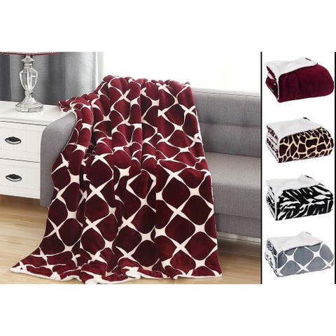 Elegant Comfort UltraPlush Micromink Sherpa-Backing Reversible Blanket