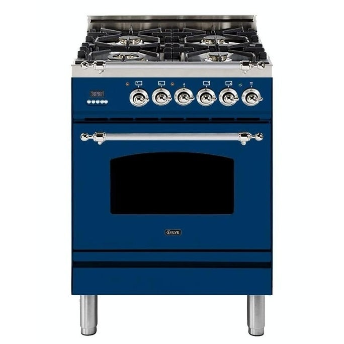 """Overstock Ilve UPN60DMPBLXNG Natural Gas 24"""" Nostalgie Series Freestanding Dual Fuel Range with 4 Sealed Burners, Chrome Trim, in Blue"""