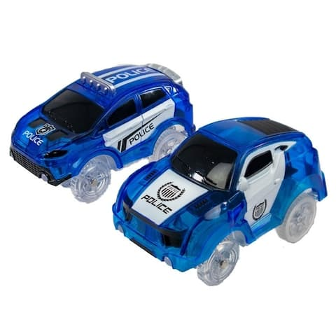 2pc Magic Twister Glow In the Dark Race Vehicles - Turbo Police Pursuit Cars