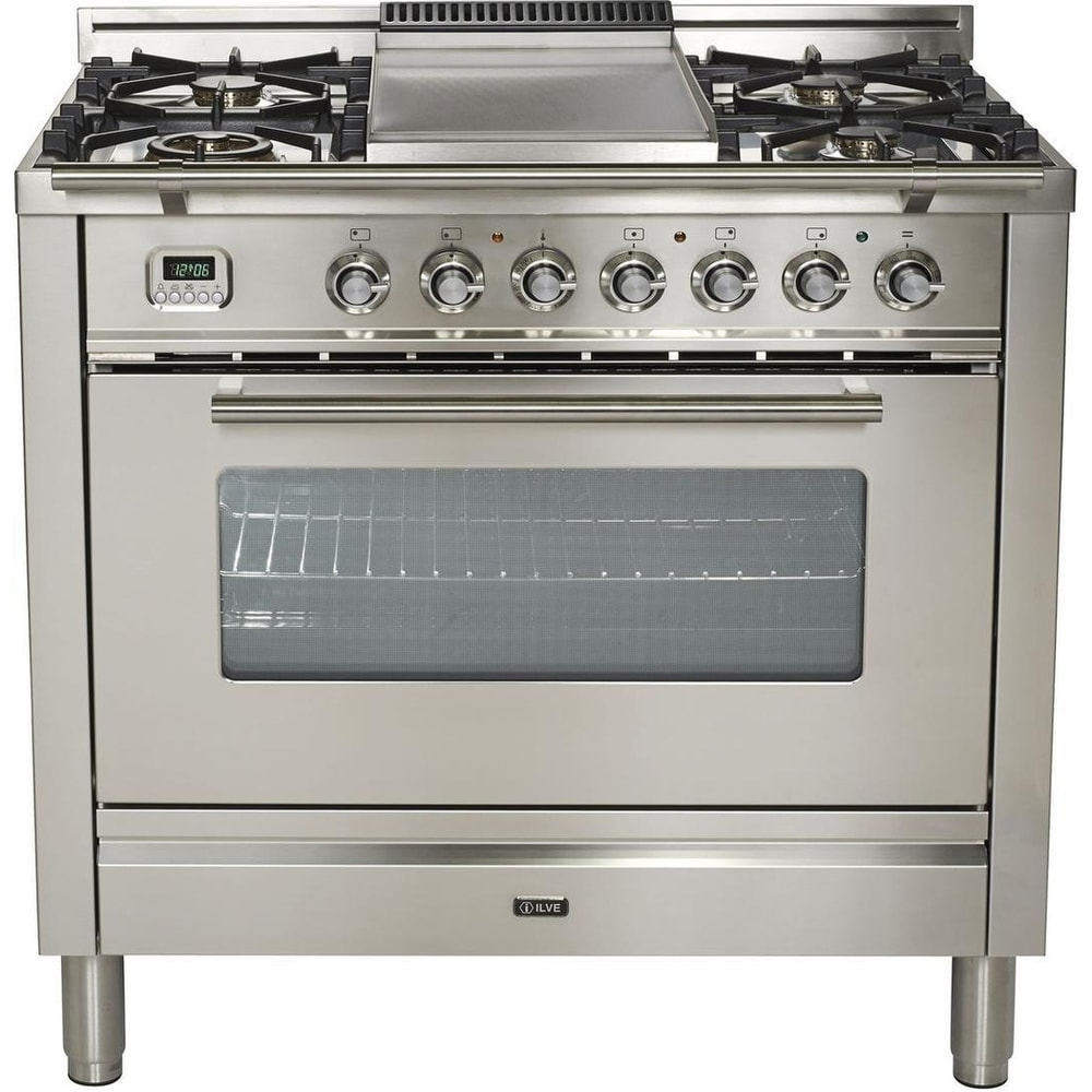 """Ilve  UPW90FDMPILP 36"""" Pro Series Freestanding Dual Fuel Liquid Propane Range, 4 Sealed Burners, in Stainless Steel"""