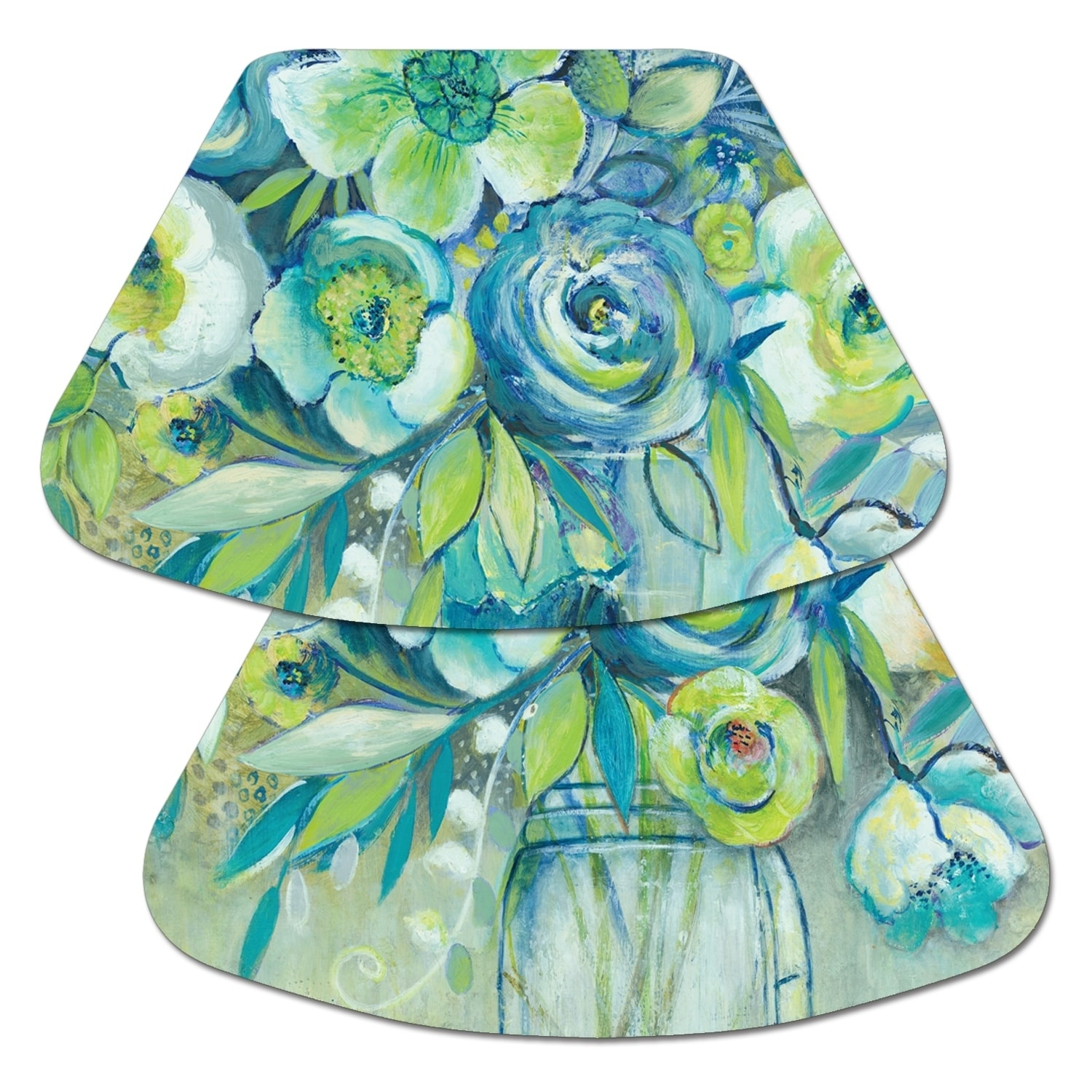 Turquoise Fern Wedge Placemats 4 or 6 Reversible Blue Wedge Placemats Green Wedge Placemats for a round table Turquoise Table Decor