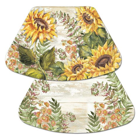Reversible Wipe-clean Wedge Shaped Placemats Set of 4 - Sunflowers