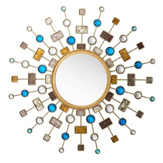 """Link to Celestial 46"""" Mirror, Gold Burnish - 46-in W x 1.25-in D x 46-in H Similar Items in Mirrors"""