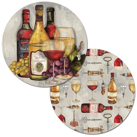 Porch & Den Stable Wine Pattern Reversible Round Placemat (Set of 4)