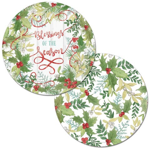 Round Reversible Wipe-clean Placemats Set of 4 - Winter Greenery