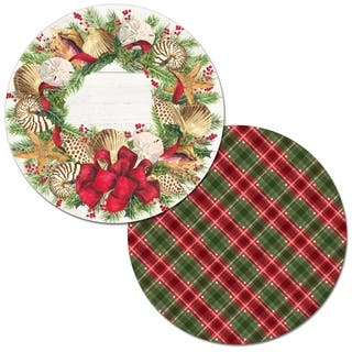 Round Reversible Wipe-clean Placemats Set of 4 - Christmas by the Sea