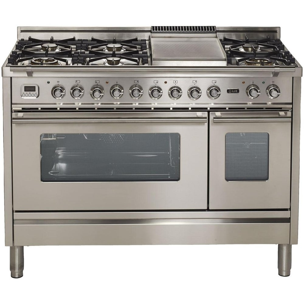 """Ilve  UPW120FDMPI 48"""" Pro Series Freestanding Dual Fuel Range with 7 Sealed Burners, Double Ovens, in Stainless Steel"""