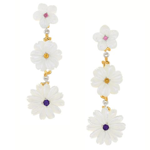 Gems en Vogue Palladium Silver Carved Mother-of-Pearl & Multi Gemstone Flower Earrings