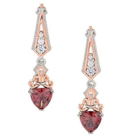 Gems en Vogue Palladium Silver Rose & White Zircon Drop Earrings