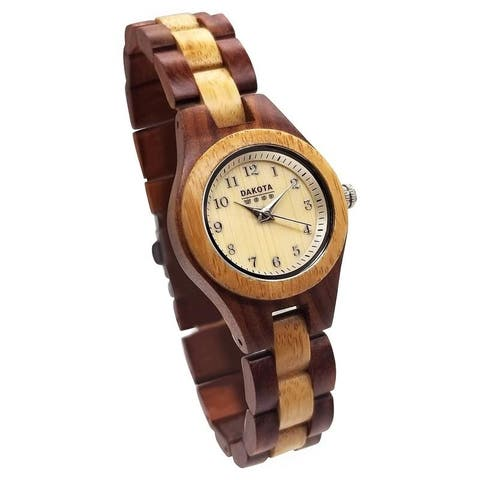 Dakota Women's Petite Round Genuine Wood Watch (26mm Diameter)
