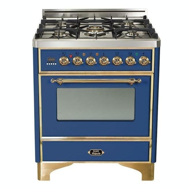 """Overstock Ilve UM76DMPBL 30"""" Majestic Series Freestanding Dual Fuel Range with 5 Sealed Burners, Brass Trim, in Midnight Blue"""