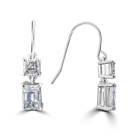 3.2ct TGW 14 Karat White Gold Emerald & Asscher Moissanite Drop Earrings - N/A