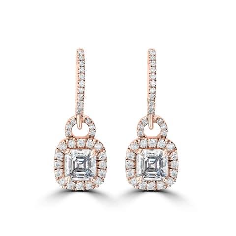 3.4CT TDW 14 Karat Rose Gold Asscher Halo Drop Moissanite Earrings