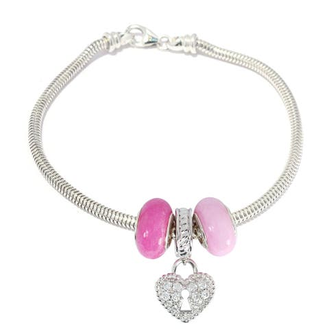 Gems en Vogue Sterling Silver Cubic Zirconia Heart Locket Drop Charm Bracelet with Pink Quartz Donuts