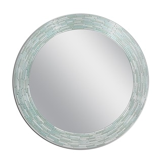 35 in. Reeded Sea Glass Circle Wall Mirror
