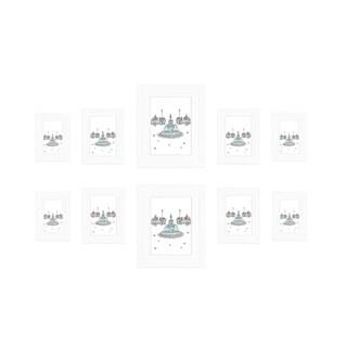 "Ten Bevel Frames (2)8"" x 10""(4)5""x 7""(4)4""x 6""-White"