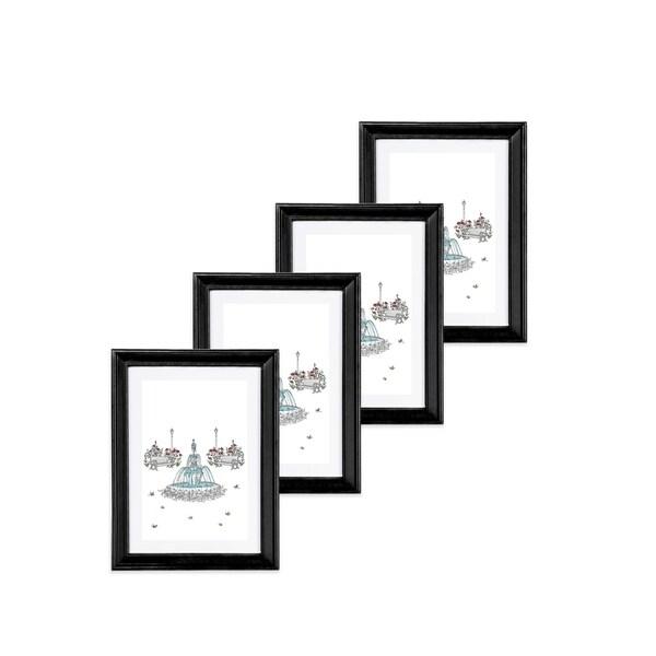 """Set of four 5""""x 7"""" Basic Bevel Frame Black"""