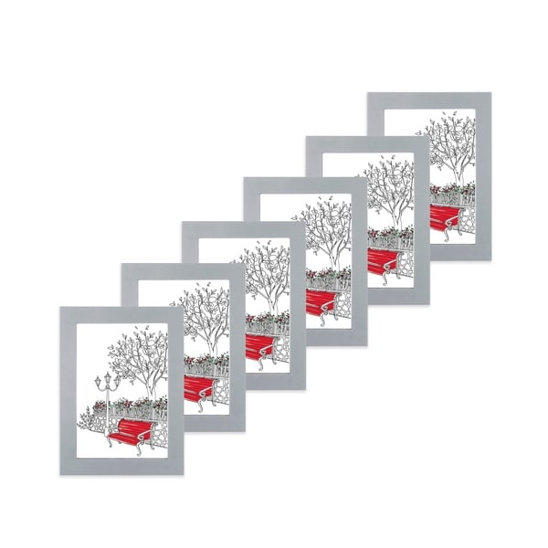 """Parkwood Gray 4""""x 6"""" Frame - Set of 6 with NO mat"""