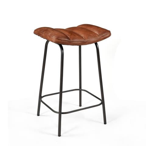 Ira Leather Padded Counter Stool ( Set of 4 ) - 28 x 18 x 15 inches