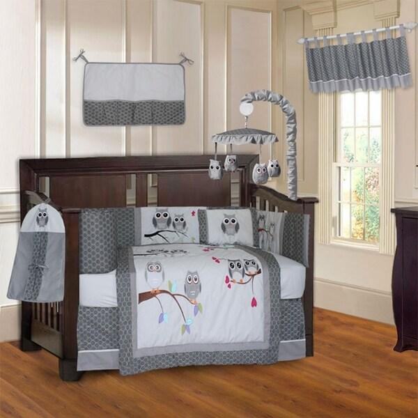 BabyFad Owl Grey 10 Piece Crib Bedding Set