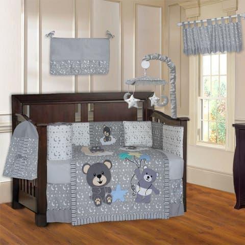 BabyFad Teddy Bear Grey 10 Piece Crib Bedding Set