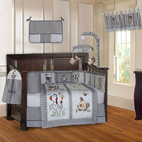 BabyFad Jungle Grey 10 Piece Crib Bedding Set