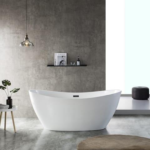 "Eviva Viva 60"" Solid Surface Grey&White Freestanding Bathtub"