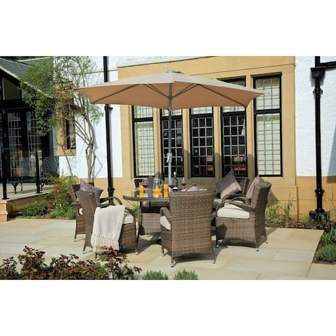Moda Outdoor 7-Piece Wicker Dining Set with Eton Chairs