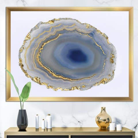 Designart 'Golden Water Agate' Fashion Framed Art Print