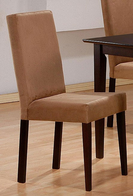 Microfiber Mocha Parson Chairs (Set of 2)