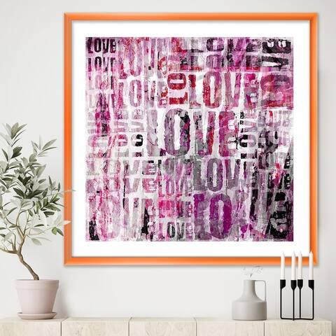 Designart 'Grunge Love Square' Cottage Framed Art Print