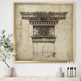 Designart 'Antique Column Old Style Sketch I' Traditional Framed Art Print
